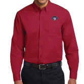 Cardinal Twill Button Down Long Sleeve-STU w/ Bobcat Head