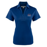 Ladies Navy Performance Fine Jacquard Polo-Official Logo