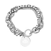 Olivia Sorelle Silver Round Pendant Multi strand Bracelet-Official Logo Engraved