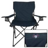 Deluxe Navy Captains Chair-STU w/ Bobcat Head