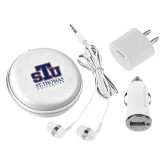 3 in 1 White Audio Travel Kit-Official Logo