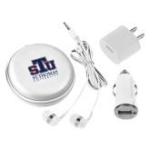3 in 1 White Audio Travel Kit-Official Logo