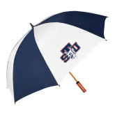 62 Inch Navy/White Umbrella-STU w/ Bobcat Head