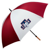 62 Inch Cardinal/White Umbrella-STU w/ Bobcat Head