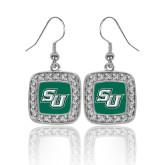 Crystal Studded Square Pendant Silver Dangle Earrings-