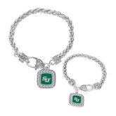 Silver Braided Rope Bracelet With Crystal Studded Square Pendant-