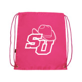 Pink Drawstring Backpack-SU w/ Hat