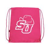 Pink Drawstring Backpack-SU w/ Hat