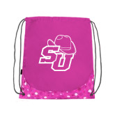 Nylon Pink Bubble Patterned Drawstring Backpack-SU w/ Hat