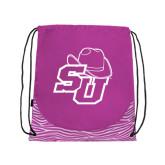 Nylon Zebra Pink/White Patterned Drawstring Backpack-SU w/ Hat