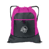 Nylon Pink Raspberry/Deep Smoke Pocket Drawstring Backpack-SU w/ Hat