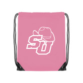 Light Pink Drawstring Backpack-SU w/ Hat