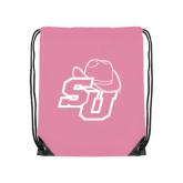 Light Pink Drawstring Backpack-SU w/ Hat
