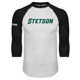 White/Black Raglan Baseball T Shirt-Stetson