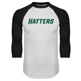 White/Black Raglan Baseball T Shirt-Hatters