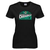 Ladies Black T Shirt-Atlantic Sun Womens Basketball Champions