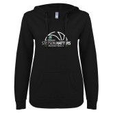 ENZA Ladies Black V Notch Raw Edge Fleece Hoodie-Basketball