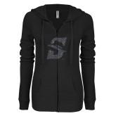 ENZA Ladies Black Light Weight Fleece Full Zip Hoodie-F Graphite Soft Glitter