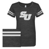 ENZA Ladies Black/White Vintage Triblend Football Tee-SU White Soft Glitter