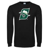 Black Long Sleeve T Shirt-S Logo Distressed