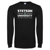 Black Long Sleeve T Shirt-Stetson University Est 1883