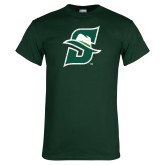 Dark Green T Shirt-S Logo Distressed