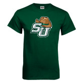 Dark Green T Shirt-SU w/ Hat Distressed