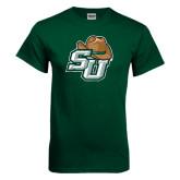 Dark Green T Shirt-SU w/ Hat Distressed
