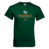 Dark Green T Shirt-Baseball Stencil