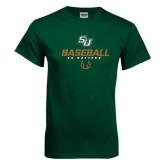 Dark Green T Shirt-Baseball Stencil