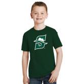 Youth Dark Green T Shirt-S Logo Distressed