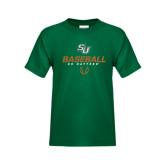 Youth Dark Green T Shirt-Baseball Stencil