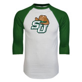 White/Dark Green Raglan Baseball T-Shirt-SU w/ Hat