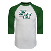 White/Dark Green Raglan Baseball T-Shirt-