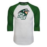 White/Dark Green Raglan Baseball T-Shirt-SU John