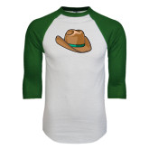 White/Dark Green Raglan Baseball T-Shirt-Hat