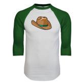 White/Dark Green Raglan Baseball T-Shirt-Hat