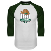 White/Dark Green Raglan Baseball T-Shirt-100 Seasons of Baseball