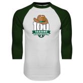 White/Dark Green Raglan Baseball T-Shirt-100 Seasons of Baseball