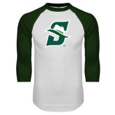 White/Dark Green Raglan Baseball T Shirt-Primary logo