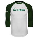 White/Dark Green Raglan Baseball T Shirt-Stetson