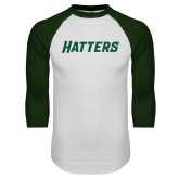 White/Dark Green Raglan Baseball T Shirt-Hatters