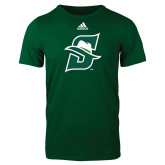 Adidas Dark Green Logo T Shirt-Primary logo