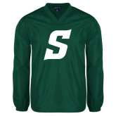 V Neck Dark Green Raglan Windshirt-Secondary Logo