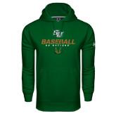 Under Armour Dark Green Performance Sweats Team Hoodie-Baseball Stencil
