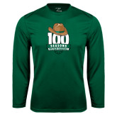 Performance Dark Green Longsleeve Shirt-100 Seasons of Baseball