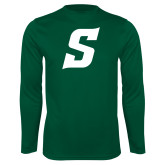 Performance Dark Green Longsleeve Shirt-Secondary Logo
