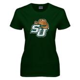 Ladies Dark Green T Shirt-SU w/ Hat Distressed