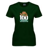 Ladies Dark Green T Shirt-100 Seasons of Baseball