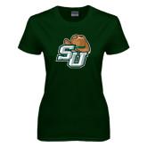 Ladies Dark Green T Shirt-SU w/ Hat